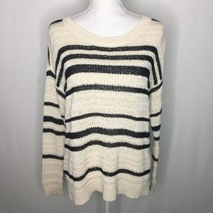 Lou & Grey stripe sweater long sleeve knit boxy